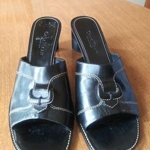 COLE HAAN Country Black Leather Mules